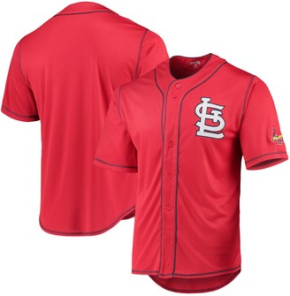 Stitches St. Louis Cardinals Team Color Button-Down Jersey - Red/Navy