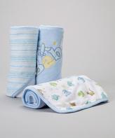SpaSilk Blue 'Baby' Airplane Hooded Towel Set