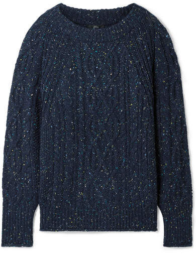 J.Crew Scotty Marled Cable-knit Sweater - Navy