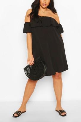 boohoo Plus Off The Shoulder Shift Dress