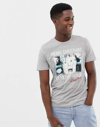 Jack and Jones Originals home alone graphic christmas t-shirt in grey