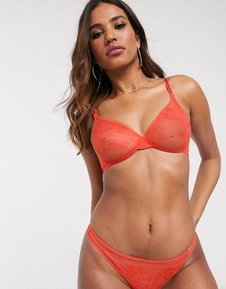 Gossard Glossies sheer lace bra in orange