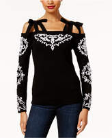 INC International Concepts Anna Sui Loves Cold-Shoulder Sweater, Created for Macy's