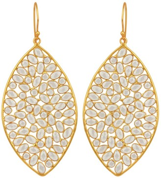 Carousel Jewels Large Leaf Sliced Crystal Earrings