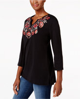 Karen Scott Floral-Embroidered Top, Only at Macy's