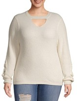 No Boundaries Juniors' Plus Size Chenille Mock Gigi Sweater