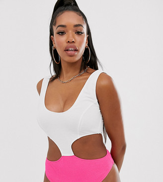 Peek & Beau Fuller Bust Exclusive scrunch cut-out swimsuit in neon pink and white D - F Cup