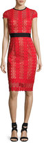 Catherine Deane Short-Sleeve Circle Lace Sheath Dress