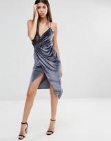 Boohoo Velvet Strappy Wrap Dress