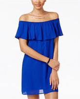 Speechless Juniors' Ruffled Off-The-Shoulder Dress