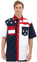 Roper S/S Pieced Stars and Stripes Patriotic Men's Short Sleeve Button Up