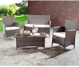 Safavieh Outdoor Living Cushioned Brown 4-piece Patio Set