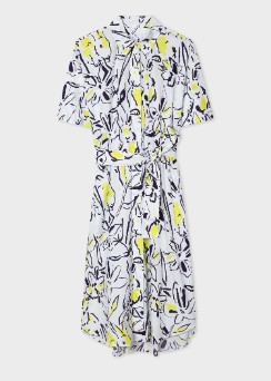 Paul Smith Women's White Ink Lucky Print Cotton Shirt Dress - 42 (S)   cotton   white - White/White