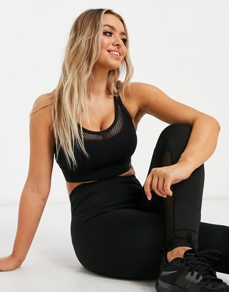 Lorna Jane mesh layer cross back sports bra in black