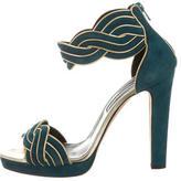 Oscar de la Renta Suede Ankle Strap Sandals