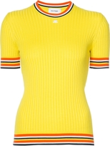 Courreges Striped Hem Short Sleeve Sweater