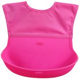 Happy Cherry Silicone Baby Bibs Soft Food Catcher Feeding Pocket Foldable,Easily Wipes Clean