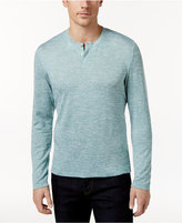 Alfani Men's Stretch Heathered Long-Sleeve Henley, Created for Macy's