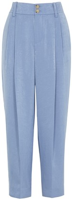 Vince Blue Tapered Wide-leg Satin Trousers