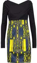 Versace Wrap-Effect Paneled Stretch-Knit And Printed Satin Dress