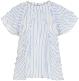 custommade White Blue Stripes Othilia Top - 36/S | white and blue