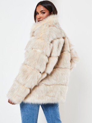 Missguided Stand Collar Pelted Faux Fur Coat - Nude