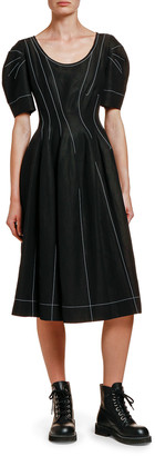 Marni Puff-Sleeve Seamed Sateen Dress