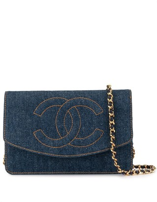 Chanel Pre Owned Chain Denim Shoulder Wallet Bag