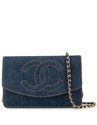 Chanel Pre-Owned chain denim shoulder wallet bag