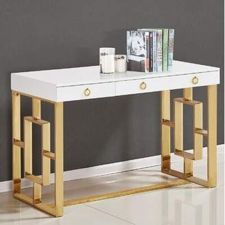 Everly Shawndell Lacquer Writing Desk Quinn Color (Frame): Gold