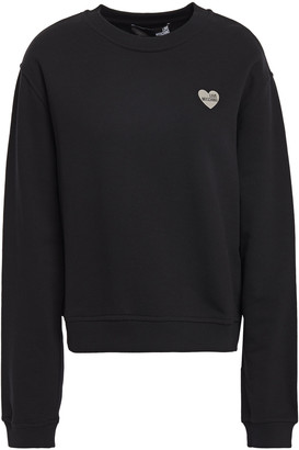 Love Moschino Appliqued French Cotton-terry Sweatshirt