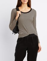Charlotte Russe Striped Long Sleeve Top