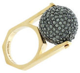 Louise et Cie Goldtone Hematite Tone Spinning Pave Ball Ring