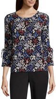 Liz Claiborne Long Sleeve Scoop Neck Paisley Top