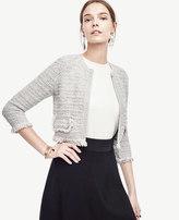 Ann Taylor Petite Fringe Stitch Sweater Jacket