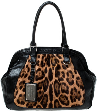 Dolce & Gabbana Black/Brown Leopard Print Calfhair and Leather Miss Romantique Satchel