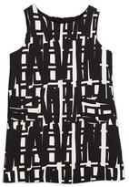 Milly Minis Sleeveless Linear-Print Shift Dress, White/Black, Size 48-14