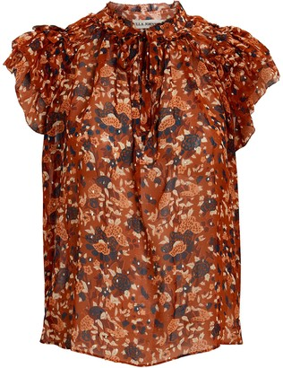 Ulla Johnson Tess Lurex Floral Sleeveless Blouse