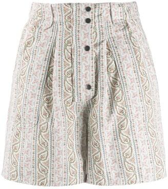 Etro Striped Paisley Pattern Shorts