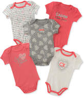 Calvin Klein 5-Pack Printed Bodysuits, Baby Girls