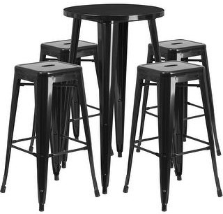 """Lancaster Home 24"""" Round Metal Indoor-Outdoor Bar Table Set with 4 Backless Stools"""