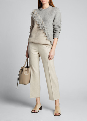 J.W.Anderson Wool-Cashmere Diagonal-Fringed Two-Tone Sweater
