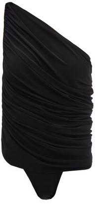 Norma Kamali Diana One-shoulder Ruched Swimsuit - Black