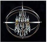 Hollyberry Home Crystal Chandelier Iron Sphere, Silver