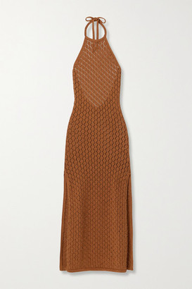 Cult Gaia Karen Crocheted Cotton-blend Halterneck Maxi Dress - Light brown