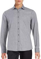 Black Brown 1826 Textured Cotton-Blend Sportshirt