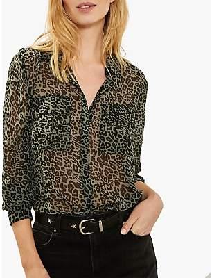 Mint Velvet Philippa Animal Print Long Sleeve Shirt, Multi
