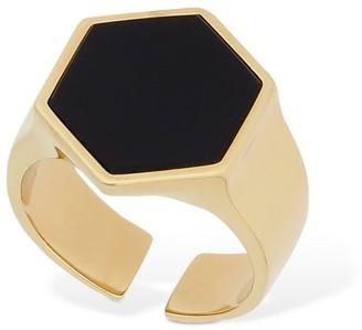 Isabel Marant Golden Mother Hexagonal Ring W/ Stone