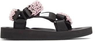 Cecilie Bahnsen X Suicoke Maria Beaded Velcro-strap Sandals - Black Pink