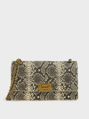 Charles & Keith Snake Print Chain Strap Shoulder Bag